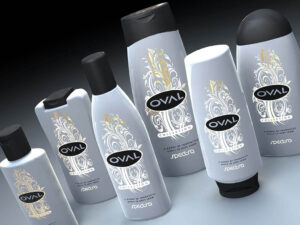 3D product visualisation bottle oval gold 2