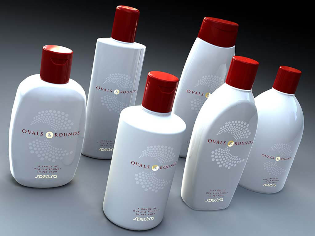 3D product visualisation bottle oval red