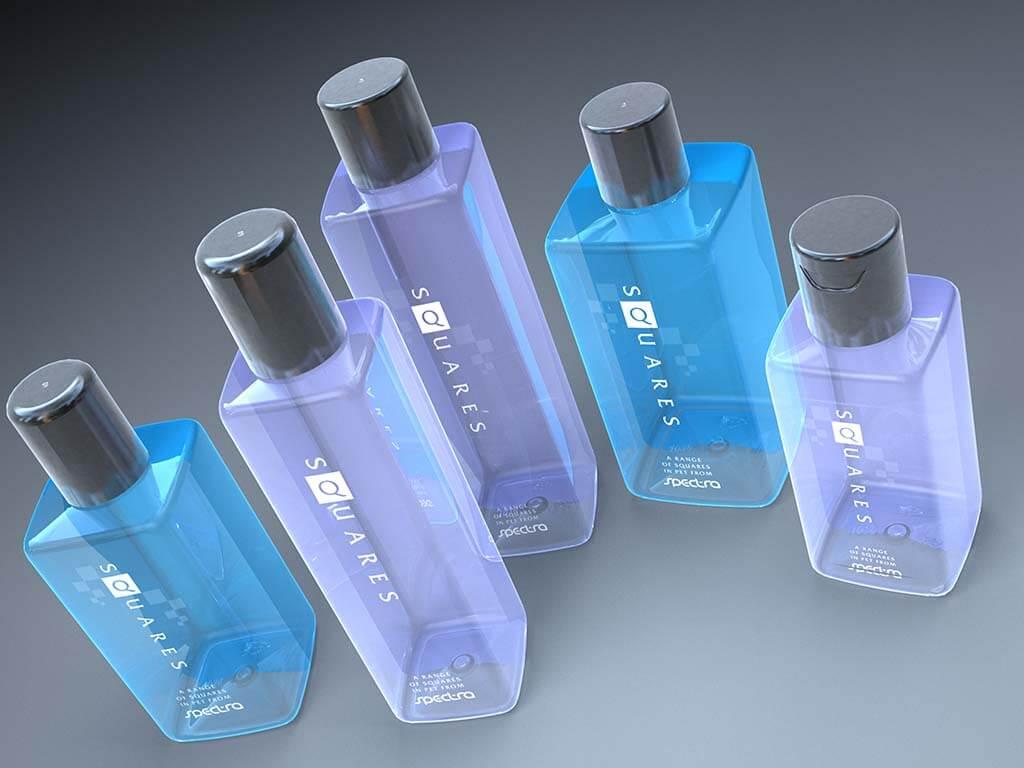 3D product visualisation bottle square blue and violet