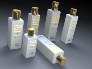 3D product visualisation bottle square gold